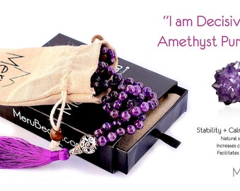 Premium Amethyst Mala Beads Necklace - Buddhist Prayer Beads for Meditation - Mala Bracelet - Yoga Jewelry - Mala Necklace