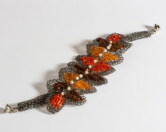 Autumn Bracelet made with metal  thread plated in onyx.