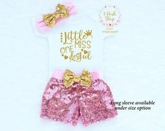First Birthday Girl Outfit, Girl 1st Birthday Outfit, First Birthday Outfit Girl, 1st Birthday Outfit Girl, Sequin Shorts Birthday BF11