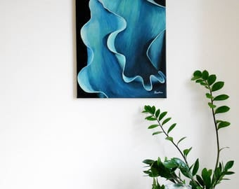 Abstract painting, original, acrylic on canvas, Tulip, plant, botany, Spring ' tulip leaves '