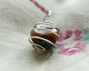 Tiger's Eye Pendant- Sterling Silver and Crystal Jewellery