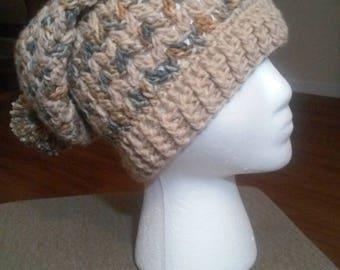 Crocheted Slouchy Hat (with pompom)