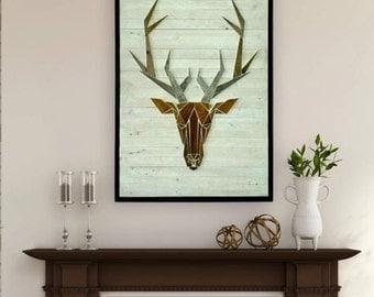 Wooden deer wall hanging
