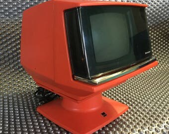 Iconic Space-Age Mini TV by SHARP.  Mod Vintage Retro Futurist Design Japanese 1960's 1970's Modern