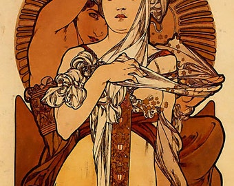Autumn Alphonse Mucha Cross Stich