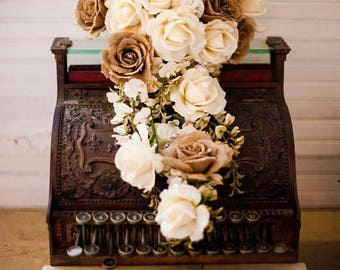 Rustic Burlap & White Rose Cascading Wedding Bouquet, Real Touch
