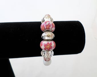 Bracelet 'Floral Fun' Pink and White