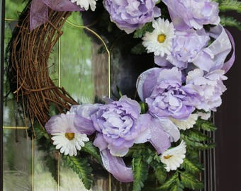 Easter wreath, Purple Easter wreath for Front door, Spring door wreath, Purple spring wreath, Farmhouse wreath, cottage style rustic wreath