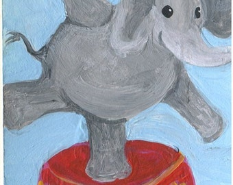ACEO Original Elephant at the Circus, small acrylic painting of elephant, elephant art card