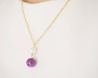 Pearl Necklace Pearl Jewelry Purple Jewelry Purple Necklace Bridesmaid Jewelry Set Bridesmaid Gift Wedding Jewelry Set Wedding Necklace