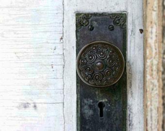 Photo of Detailed Vintage Doorknob - 5x7 Architectural Detail Photo Art - Pretty Old Black Lockset Photo - Weathered White Door Wall Art