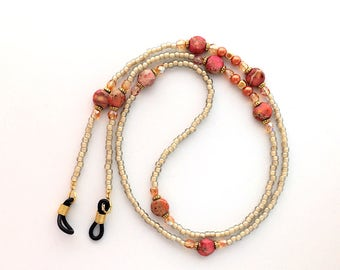 Flame Red Orange with Tan and Gold Beaded Eyeglass Chain -64