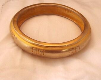 Vintage Signed Givenchy Bangle Gold Bracelet Heavy Elegant Classic Stamped Signed