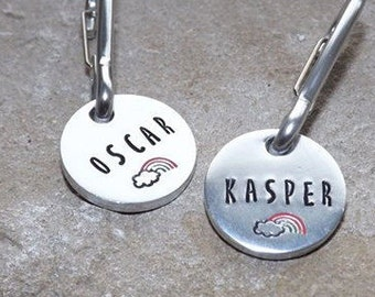 Handstamped Coat Tag  -  Bag Tag - Back To School - Name Tag - Child - Zipper Charm - Personalise - Personalize
