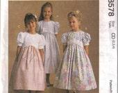 McCalls Sewing Pattern 8578 - Childrens/Girls Dress: Empire-Waist Style Sizes 2, 3, 4 - Vintage Sewing Pattern
