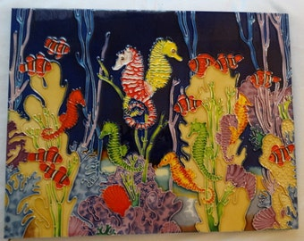 Tropical Fish Ocean Tile, Sea Horse, Multi Colored, Sea Life, Fish, Tropical Beach Decor, Seaweed, Coral, Wall Hanging, Ocean Life