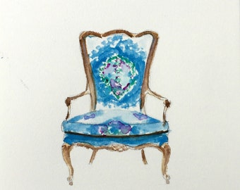 Original Watercolor Painting French Chair Suzani Fabric Blue Interior Design French Furniture