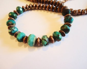 Necklace, long, REAL TURQUOISE with COPPER Beads, 23 inch