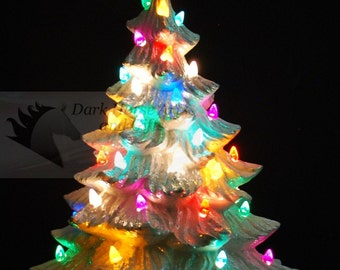 Mother Of Pearl Silver Bells Ceramic Christmas Tree 19 inches