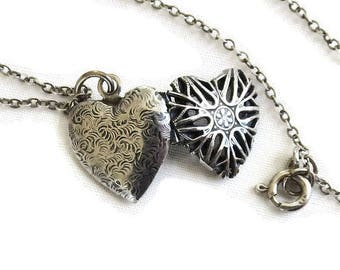 Sterling Silver Heart Photo Locket Pendant Necklace Vintage Antique
