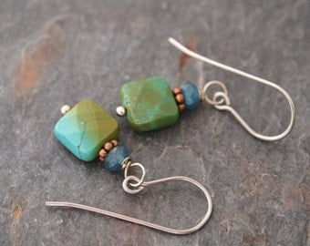 Teal Jade and Turquoise Earrings