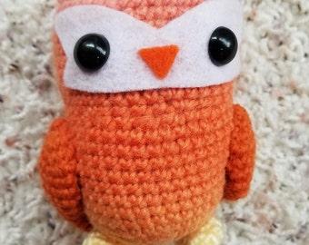 Ombre Orange Tea Owl Crochet Amigurumi Wool Doll