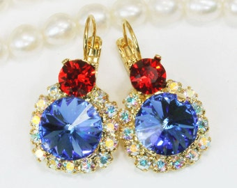 Red Blue White Earrings 4th of July Drop Earrings Swarovski Crystal Texas Rangers Jayhawks Cubs Sapphire Red AB Halo,Gold,Sapphire,GE102