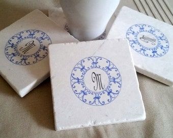 Monogram Fleur de Lis Coasters - Hostess Gift - Housewarming - Tile Coasters