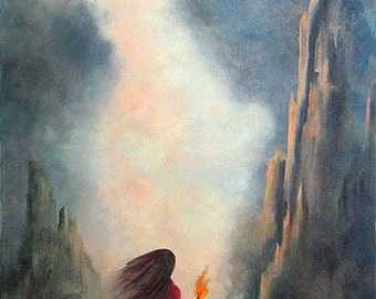Landscape Fantasy Painting, Original Oil Landscape Painting, Fantasy Art, Home Decor, Wall Art, Wall Decor