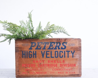 Vintage Ammunition Crate / Peters High Velocity Shot Shells / Remington Arms Co / Rustic Decor
