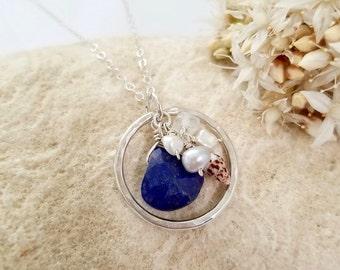Beachy shell necklace made in Hawaii - Shell jewelry by Tidepools, lapis lazuli shell necklace, hawaiian jewelry, beach wedding, OOAK