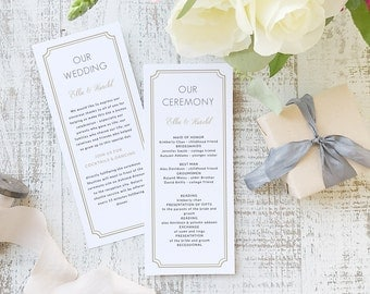 Instant Printable Wedding Program Template   INSTANT DOWNLOAD   Deco Classic   Flat Tea Length   Editable Colors   Mac or PC   Word & Pages