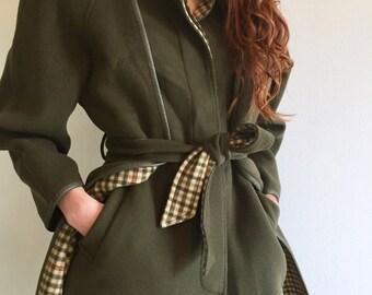 Green Wool Coat / Military Green Belted Wool Coat / Flannel Lined Winter Coat w Leather Trim / Green Winter Trench Coat w Pockets & Belt