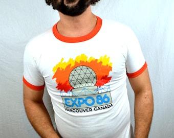 Vintage 1986 Expo Games Vancouver British Columbia Canada RARE Ringer Tee Shirt