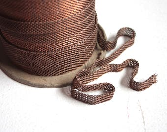 Rare 3 feet Copper Brass Flat Chain // 1950s Vintage Chain // 50s Mesh Ribbon Chain // NOS