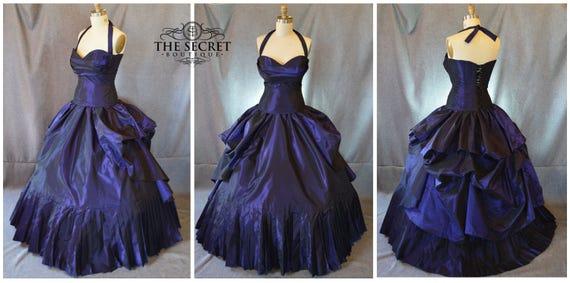 purple wedding dress-plus size- bustle gown-alternative- halter-the secret boutique-ball gown-bridal gown-corset wedding dress-goth-steam