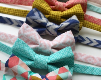 Little and Big Guy BOW TIE - Spring Easter - Coral Aqua Blue Collection (Newborn-Adult) - Baby Boy Toddler Teen Man