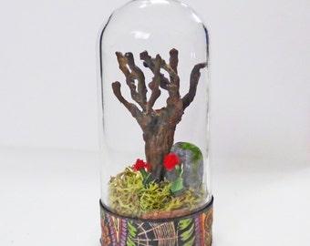 Gothic Miniature Cemetery - Miniature Glass Cloche - Miniature Diorama - Mememento Mori