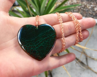Green Heart Necklace Rose Gold, Dragon Vein Agate Pendant Necklace, Fire Agate Necklace, Green Agate Necklace, Handmade Heart Jewelry