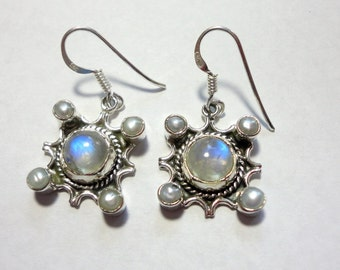 Moonstone Earrings Rainbow Moonstones  and Pearls In Solid Sterling Silver Bali Style Setting on Sterling Hook Wires