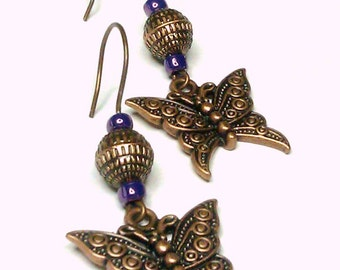Ready to Ship  Copper Butterfly Earrings with Purple Accent Beads