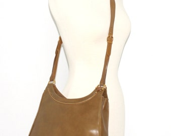 Vintage GUCCI Tote Brown Leather Wooden Horsebit Crossbody Bag