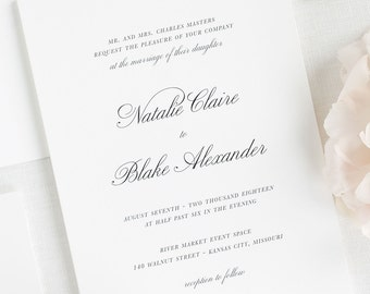 Classic Script Wedding Invitations - Sample