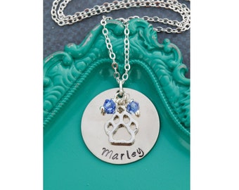 Personalized Dog Necklace • Dog Name • Dog Jewelry • Pet Memorial Gift • Dog Paw • Loss of Dog • New Puppy • Dog Lover Gift • Dog Memorial