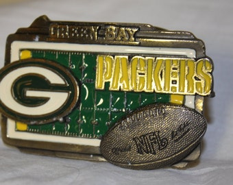Green Bay Packers Vintage Belt Buckle # 2019 from 1980s NFL Official Licensed Product Made in USA Green n Gold Colors NFL Brass Football
