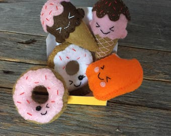 Felt Sweets Food / Ice Cream / Creamsicle / Donut Choose 3