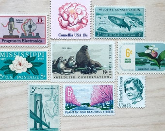 Custom Curated Theme . Unused Vintage Postage . 8-10 Stamps