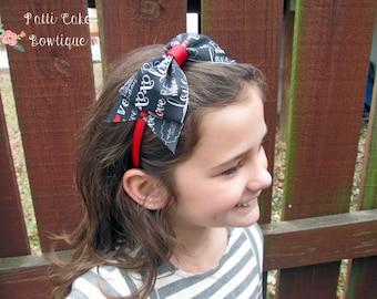 Valentines Day Headband, Red Headband, Black Love Bow Headband, Little Girls Headband, Toddler Headband, Be Mine Hair Bow on Hard Headband,