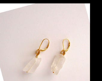 White Rock Crystal Nugget Quartz CZ Earring One