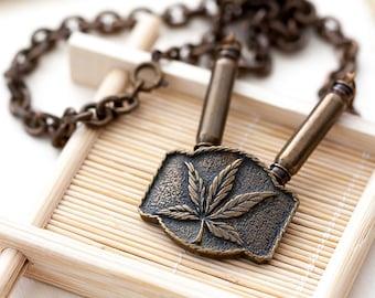Vintage Necklace Pendant Vintage Heavy Link Antique Brass Marijuana Leaf Pendant Necklace Chain, Vintage Marijuana Leaf Jewelry